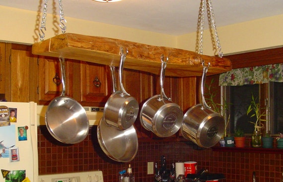Items Similar To Wooden Pan Hanger Pot Rack On Etsy