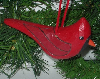 Hand Carved Christmas Ornament - Red Cardinal - Cardinal Ornament - Wood Cardinal Ornament - Cardinal Christmas Ornament