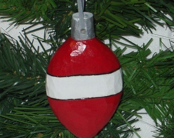 Hand Carved Christmas Ornament - Red and White Wooden Ball
