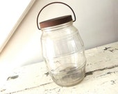 Vintage Glass Jar with Wire Handle