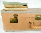 Vintage Luggage Suitcase Peachy Tan Shabby