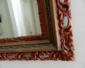Vintage Mirror Wood/Gesso Frame Chippy Red Ornate Large