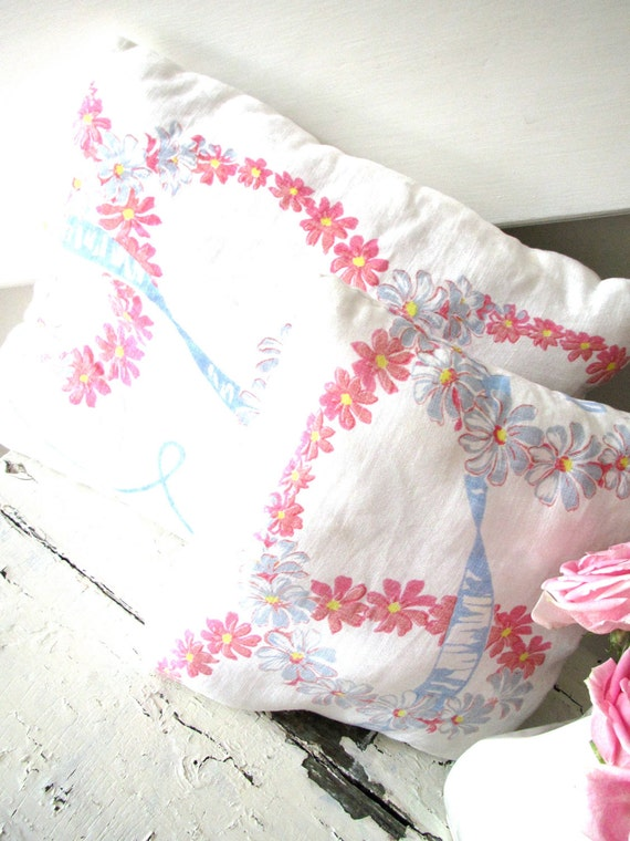 Vintage Linen Floral Throw Pillows