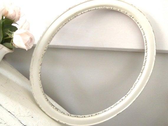 Reserved for Deidre-Vintage White Shabby Chic Frame Chippy Oval Wood Large
