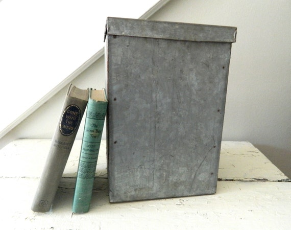 Vintage Industrial Galvanized Tin Metal Box Storage