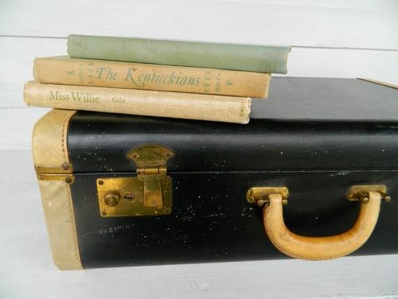 Vintage Luggage Suitcase Navy/ Black