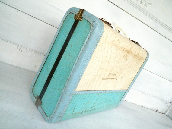 Vintage Child Luggage Suitcase Blue White Shabby Chic