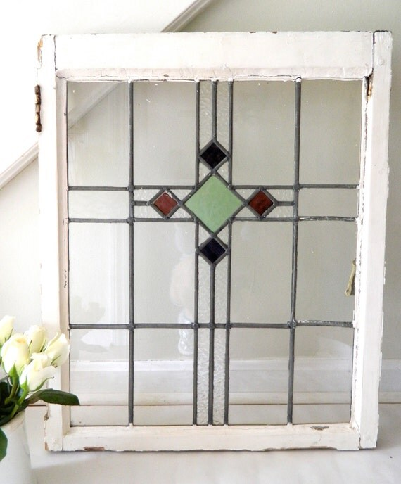 Stained Glass Kitchen Cabinet Doors: Vintage Stained Glass Window Cabinet Door By