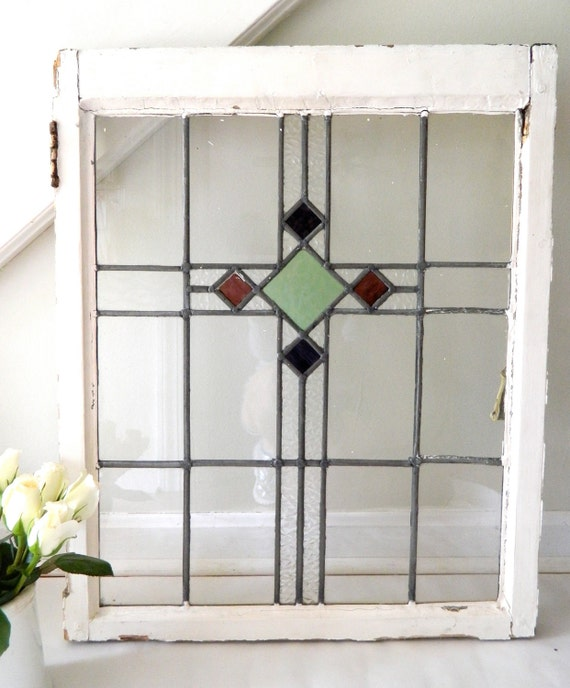 Beveled Glass Kitchen Cabinet Doors: Vintage Stained Glass Window Cabinet Door By