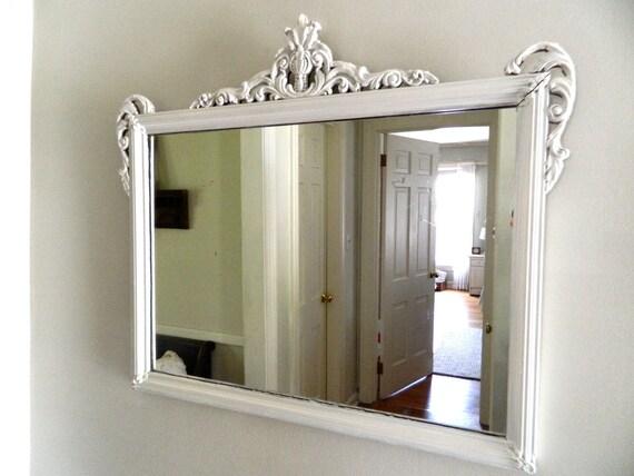 Hold for Rene'- Vintage Shabby Chic White Mirror Ornate Wood Frame