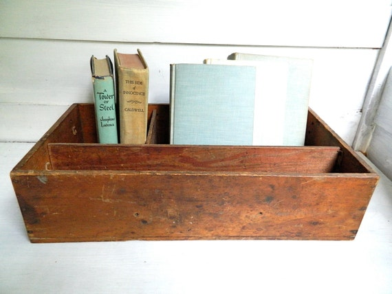 Vintage Wooden Divided Box Crate