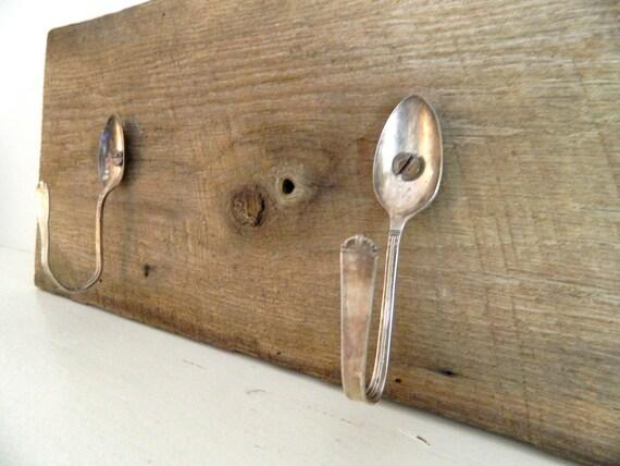 Vintage Coat Rack Repurposed Barn Wood/ Vintage Silver Spoon Hooks