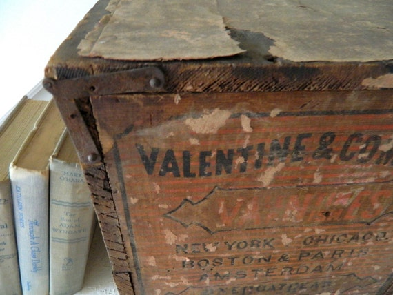 Vintage Wooden Box with Lid Shabby-Valentine & Company Varnishes