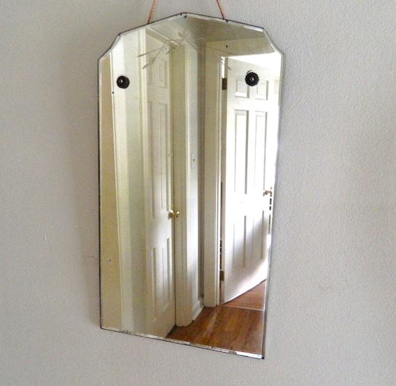 Vintage Mirror Etched Beveled Frameless Shabby Chic