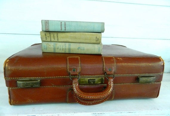 Vintage Luggage Suitcase Brown Leather