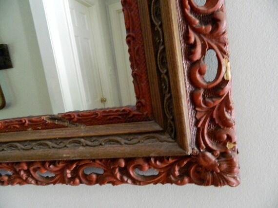 Vintage Mirror Wood/Gesso Frame Chippy Red Ornate Large