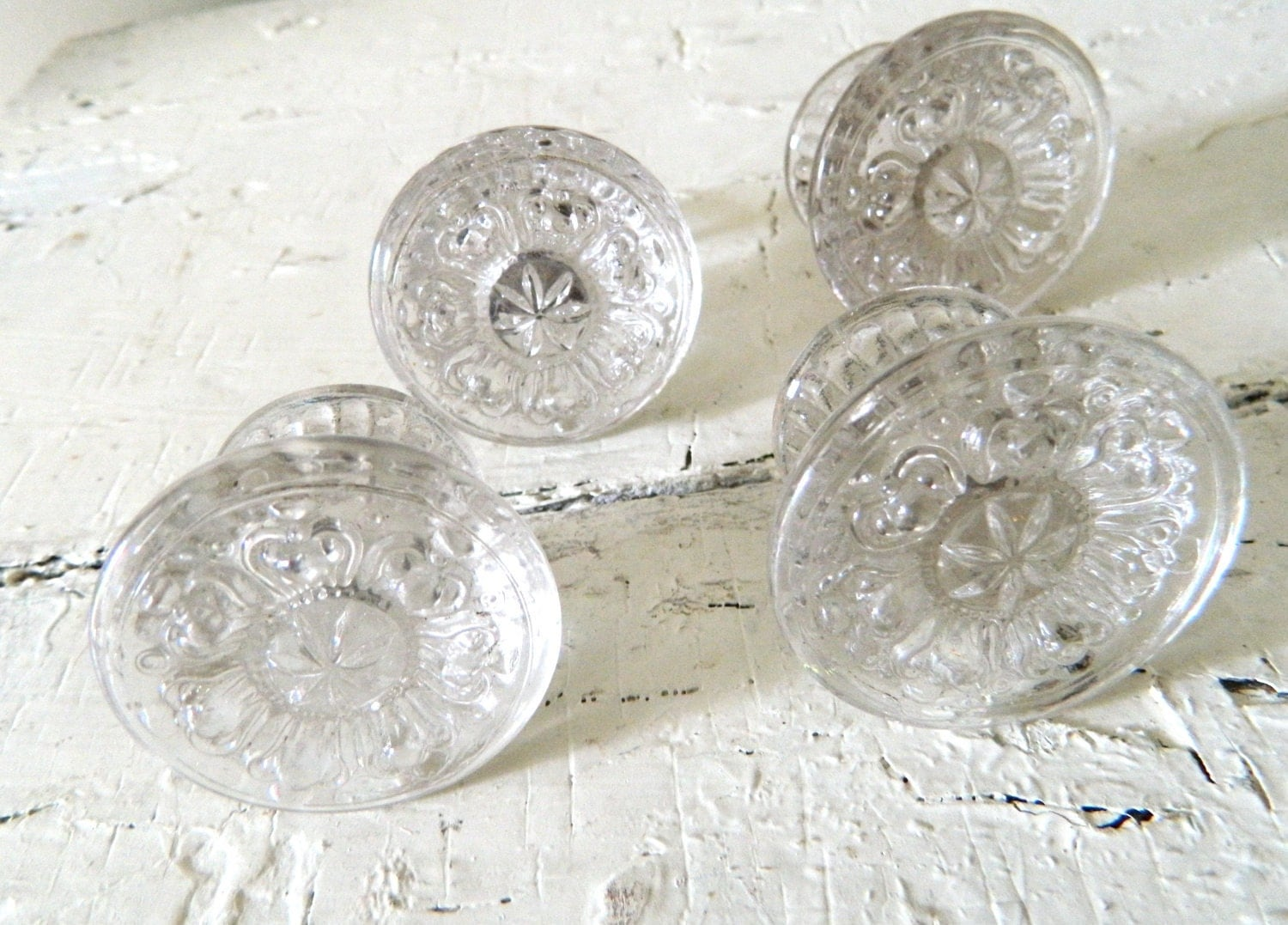 Vintage Pressed Glass Drawer Pulls Knobs