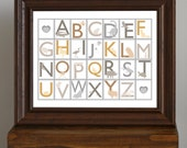 Animal Alphabet, Nursery Art Print - Natural / Neutral Colors - educational, learning - new mom gift - 11 x 14