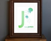 Personalized Child's Name Art Print, with Initial and Animal - Green Color Scheme - kid's / nursery art, baby shower gift - 8 x 10