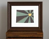 Colorado Art Print, State of Love - Home is wherever I'm with you lyric - gift or home decor - green, charcoal, yellow - 8 x 10