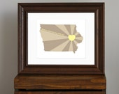 Iowa Art Print - State of Love - Home is wherever I'm with you quote - midwest art, rustic gift - yellow and brown - 8 x 10