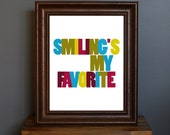 Typography Art Print - Smiling's My Favorite - funny, humorous Elf movie quote - Christmas, holiday decor - green, blue, red - 8 x 10
