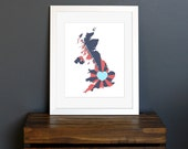 United Kingdom Love Art Print - Home is wherever I'm with you quote - Britain, England, Scotland, travel art - navy, red, and aqua - 8 x 10
