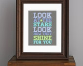 Inspirational Love Art Print - Look At The Stars - Coldplay lyrics - typography, nursery, kid's room - blue, aqua, green, gray - 8 x 10