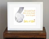 Baby Elephant Nursery Art Print - yellow and gray decor - Baby Mine, Dumbo lyrics, Disney - a mother's love - baby shower gift - 8 x 10
