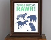 Things That Go Rawr - Animal Art Print - dinosaur, bear, tiger, lion silhouettes - masculine decor, boy room, nursery - green, blue - 8 x 10