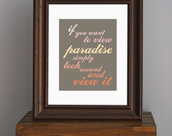 Typography Inspirational Art Print - Pure Imagination Willy Wonka quote - shades of orange and pink - bright home decor - 8 x 10