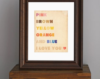 Beatles Typography Art Print - love quote, song lyric - rainbow colors home decor, vintage look - music art, retro art for nursery - 8 x 10