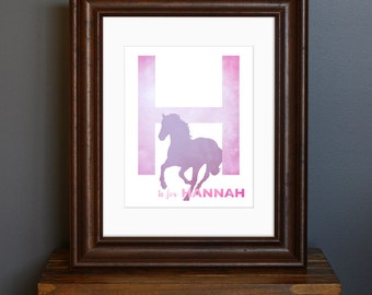 Personalized Child's Name Art Print, with Initial and Animal - Pink Color Scheme - girl's room / nursery art, baby shower gift - 8 x 10