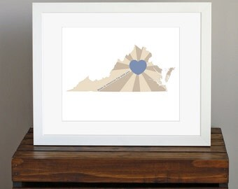 Virginia Art Print - State of Love - Home is wherever I'm with you quote - gift or home decor - blue and tan - 8 x 10