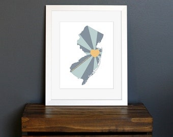 New Jersey Art Print - State of Love - Home is wherever I'm with you quote - gift or home decor - blue, teal, and tan - 8 x 10