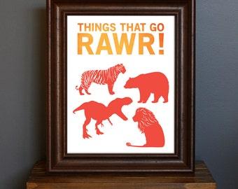 Fun Kid's Room Animal Art Print - Things That Go Rawr - typography, modern nursery, boy's room - animal silhouettes - red, orange - 8 x 10
