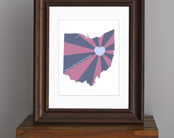 State of Love, Ohio Art Print - Home is wherever I'm with you quote - personalized art, wedding gift - purple, navy blue - 8 x 10