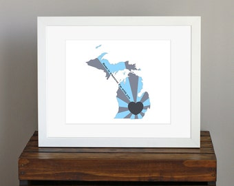 Custom State of Love, Michigan Art Print - Home is wherever I'm with you lyric - personalized wedding gift - gray and blue - 8 x 10