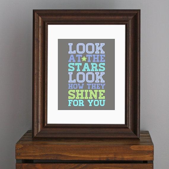 Inspirational Love Art Print - Look At The Stars - Coldplay lyrics - typography, nursery, kid's room - blue, aqua, green, gray - 8 x 10