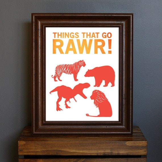 Fun Kid's Room Animal Art Print - Things That Go Rawr - typography, modern nursery, boy's room - animal silhouettes - red, orange - 8 x 10