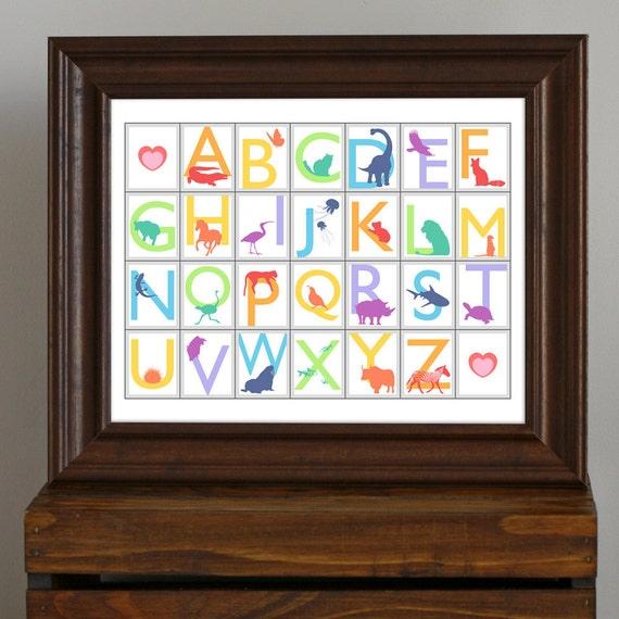 Rainbow Animal Alphabet, Educational Nursery Art Print - bright colors - neutral baby shower gift, kid's room, modern baby decor - 11 x 14