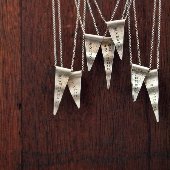 personalized sterling silver necklace custom city state name travel pennant charm