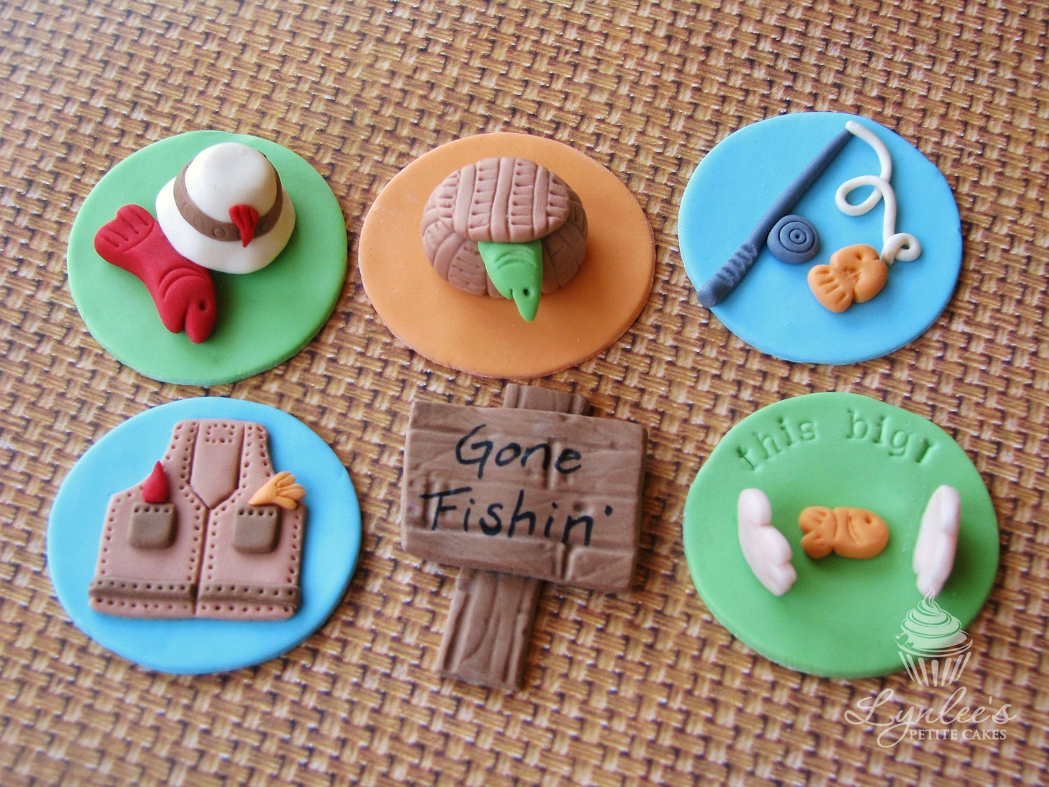 items similar to gone fishing fondant cupcake toppers on etsy