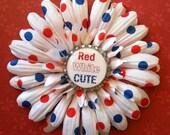 Red White Cute Hair Flower Clip