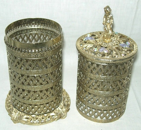 Vintage 2-piece Filigree Vanity Perfume Hairspray Bottle Cover Holder Cherub Rhinestone Jewels