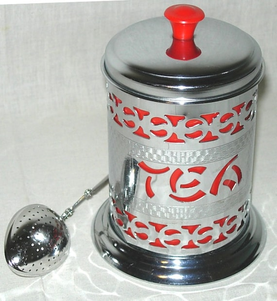 Vintage Pierced Chrome-Red Liner Tea Canister and Spoon Infuser Aisian Influence Leaf or Bags