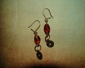 Pierced Earrings Miniature Chinese Coin Replicas and Amber Glass Beads