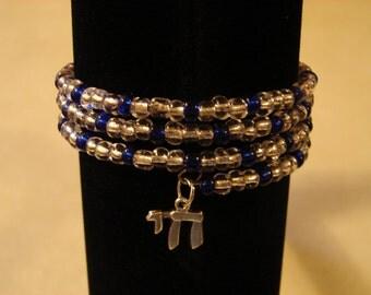 Bracelet Memory Wire Wrap Bracelet Chai Charm Hanukkah Bat Mitzah