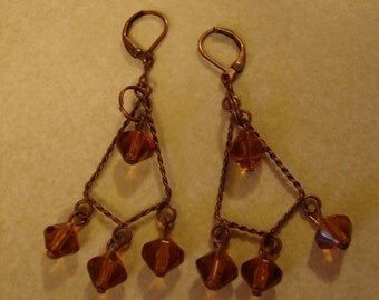 Pierced Earrings Twisted Copper Wire Chandeliers with Crystal Bicones