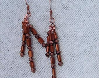 Pierced Earrings Copper Beaded Tassels